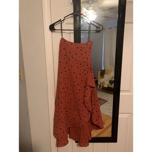 Ruffle Polka Midi Skirt